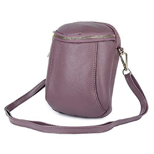 Die erste Schicht Rindsleder doppellagige Mini Handytasche einfache einschultrige diagonale Tasche, Violett - violett - Größe: Einheitsgröße