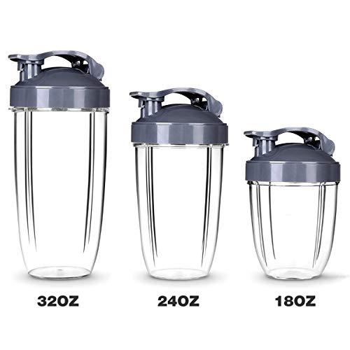 Nutribullet Zubehör, 3 Stück Nutribullet Tassen 18oz + 24oz + 32OZ, klare Tassen Tassen Ersatzteil Entsafter Zubehör für NUTRIBULLET Nutri Bullet 900W 601W Mixer Entsafter