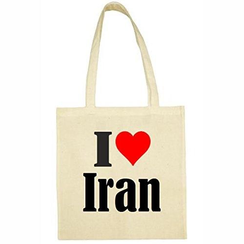 Tasche I Love Iran Größe 38x42 Farbe Natur Druck Schwarz