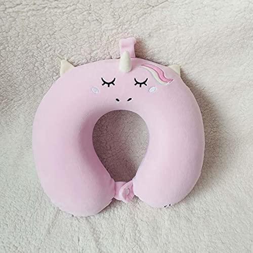 Almohada de viaje en forma de U de unicornio de dibujos animados almohada inflable de vuelo de aire almohadas de apoyo para el cuello reposacabezas cojín suave almohada de espuma de memoria