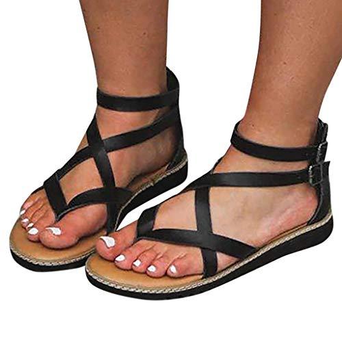 Sandalen Dames Zomer Sandalen Dames Gesp Rome Casual Strand Platte schoenen Dames Eenvoudige slippers Grote maten