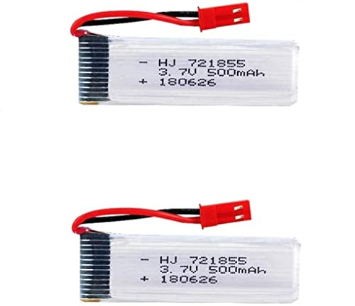YUNIQUE ITALIA 2 Pezzi Batteria Lipo Ricaricabile (3.7V 500mAh) per RC Droni quadricotteri UDI U817 U817C U817A U818A WLtoys V959 V969 V979 V989 V999 V929 V949 V212 V222 RC