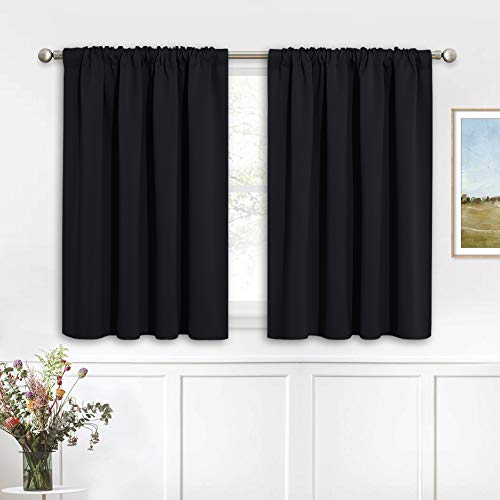 RYB HOME Black Curtains Blackout - Bathroom Small Window Curtains Thermal Insulated Privacy Drapes for Kids Bedroom Living Room Kitchen Basement, Width 42 by Length 36, 1 Pair