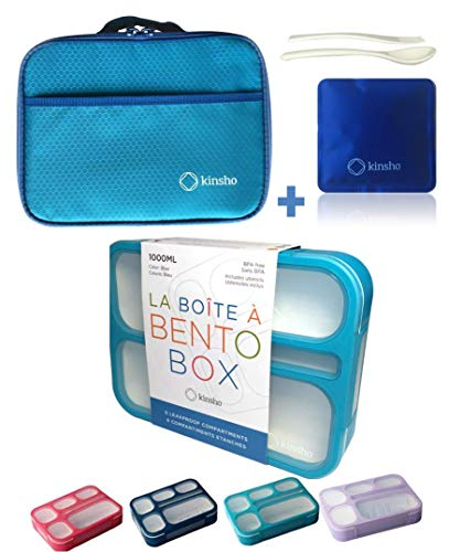 Bento Lunch-box Set with Insulated Bag. Bentobox Containers for Kids, Women. 6 Compartments, Leakproof for School. Meal Prep Portion Container...