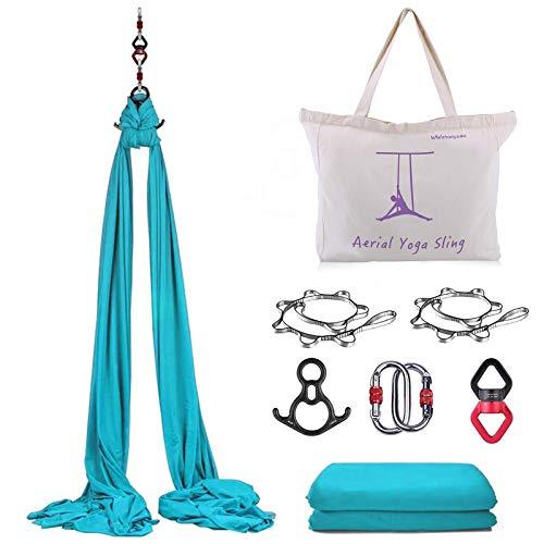 WWahuayuan 10M Premium Aerial Silks Equipment Yoga Pilates Swing Aerial Yoga Antigravity Hammock Trapeze for Acrobatic Dance,Air Yoga, Aerial Yoga Hammock (Blue)