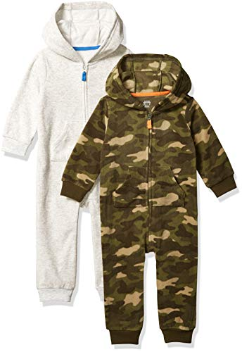 Amazon Essentials 2-Pack Microfleece Hooded Coverall Fashion-Hoodies, Safari, Bebé prematuro