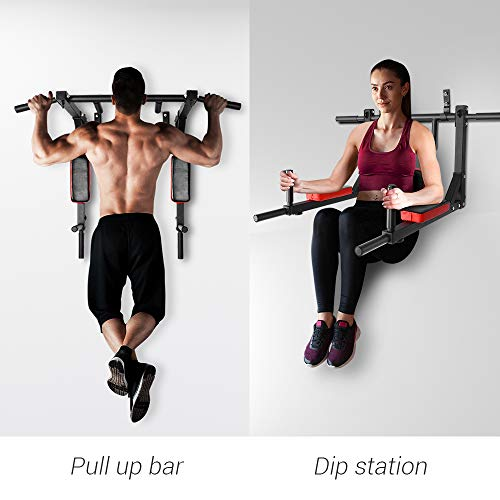 ONETWOFIT Multifunctional Wall Mounted Pull Up Bar/Chin Up bar,Dip Station for Indoor Home Gym Workout,Power Tower Set Training Equipment Fitness Dip Stand Supports to 440 Lbs OT126