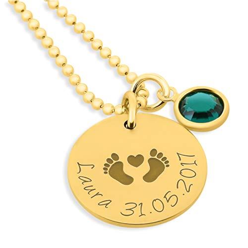 Namenskette zur Geburt gold 925 Silber Schmuck mit Gravur für Mutter zur Geburt * Babyfüße Kette mit Namen Schmuck Geburtsstein Geschenkidee Baby, vergoldeter Silberschmuck | HANDMADE IN GERMANY