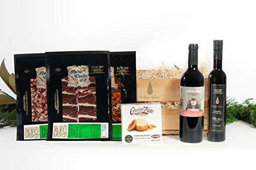 Regalo San valentin - Cesta Gourmet : Ibericos de Guijuelo - Aceite Virgen Extra Cortijo Zahan - Queso Cremosito Premio al mejor queso del mundo - Vino Tinto Pedro del Páramo.
