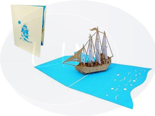 LIN-POP UP Grußkarten, 3D Karten Reisegutschein Boottour Gutschein, 4. Masterschiff