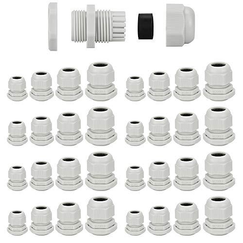 KBNIAN 32 Stück Kabelverschraubung, Wasserdichte Kabelverbinder, Weiße Kabelverschraubungen aus Kunststoff,feuchtigkeits und staubdicht, zur Kabelbefestigung