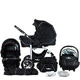 Bergsteiger Capri Kinderwagen 3 in 1 Kombikinderwagen Megaset 10 teilig inkl. Babyschale, Babywanne, Sportwagen und Zubehör