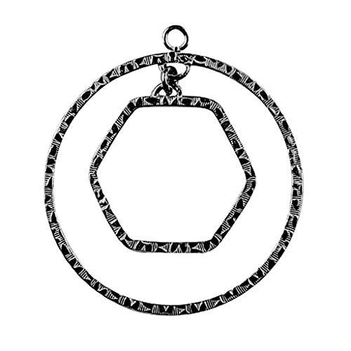 Pendientes de lustre superpuestos de rodio negro con forma redonda y rectangular FR-166-48 mm