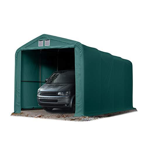 Wikinger Zeltgarage 4x8 m Lagerzelt Carport Torgröße 3,5x3,5 m für Boote, Wohnmobile, Traktoren - grün