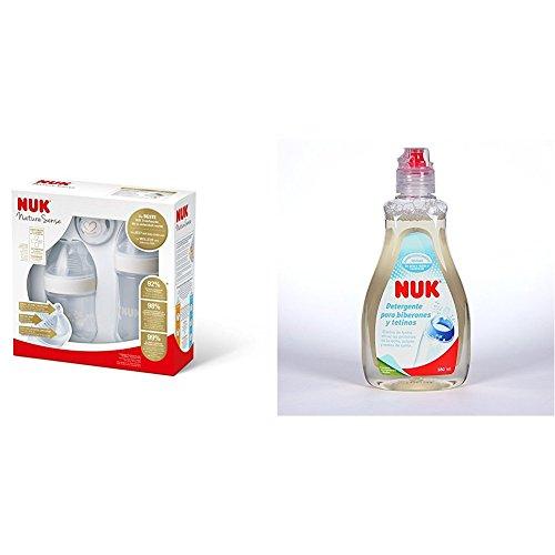 Nuk Nature Sense - Set de inicio + Nuk NK10256261 - Detergente para biberones y tetinas, 380 ml
