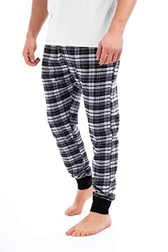 Herren Loungehose Pyjama Pj Pj Hose Schottenkaro einfarbig Nachtwäsche Weiches warmes Fleece S-2XL kalte Winterhose Jogginghose Jogger Style Hose mit Taschen schwarz/grau Gr. S, Schwarz/Grau kariert