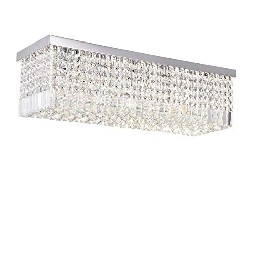 A1A9 Lampadari di cristallo moderni, plafoniera rettangolare a goccia di pioggia, apparecchio a sospensione a led da incasso per soggiorno, sala da pranzo, salotto