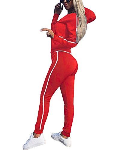Tomwell Frauen Trainingsanzug Jumpsuit Damen Zipper Playsuits Sportswear Trainingsanzüge Overall 2 Stück Set Rot DE 34