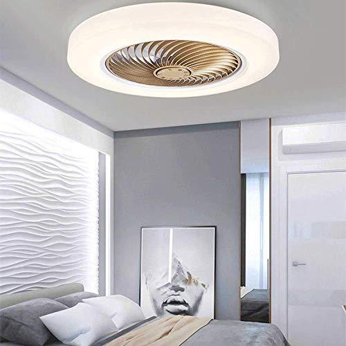 CLL Ventilador de techo moderno con luces LED de 36 W, regulable, con cuchillas invisibles, 3 tipos de luces, temporizador de 3 velocidades