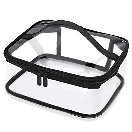 QUMENEY Tragbare, transparente Kulturtasche mit Griff, durchsichtige, wasserdichte Make-up-Tasche für Reisen, großer transparenter Kosmetik-Organizer mit Reißverschluss für Badezimmer, Urlaub