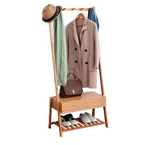 LAOSUNJIA opbergbank met ladekast rek bamboe opbergplank schoenen rek voetbank voor hal entree woonkamer slaapkamer nachtkastje hout kleur 64.5X39.5X149.5CM
