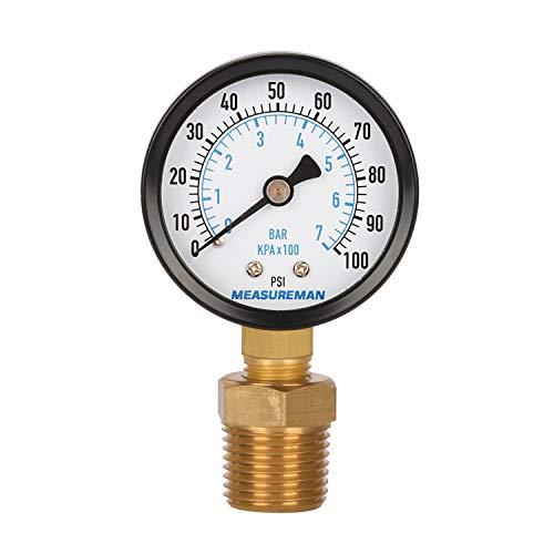 Measureman 2' Well Pump Pressure Gauge, 0-100psi/bar, 1/4'NPT Male with 1/2'NPT Adaptor, 3-2-3% Accuracy