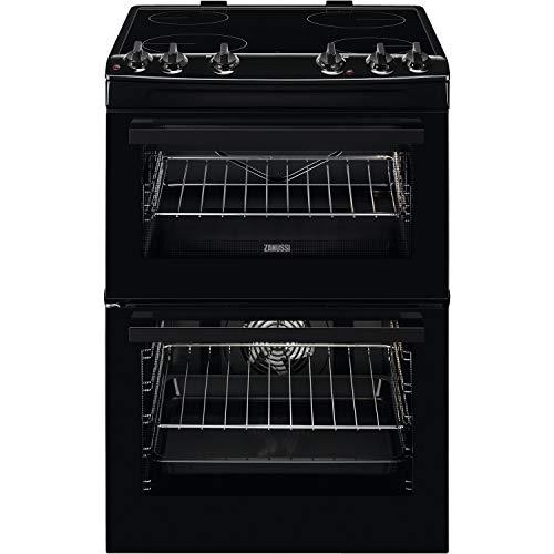 Zanussi ZCV66050BA 60cm Double Oven Electric Cooker with Ceramic Hob - Black