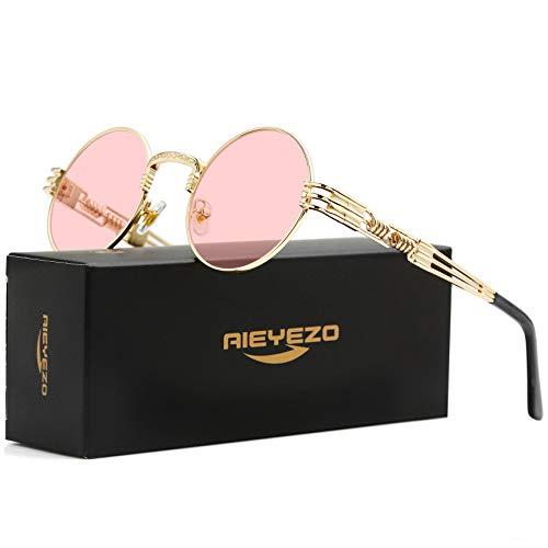 Gafas de sol redondas Steampunk John Lennon Hippie Gafas marco de metal 100% UV bloqueo lente