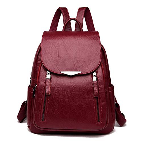 Women's Backpack Leather Large Capacity School Double Zipper Shoulder Bag Casual (Red)