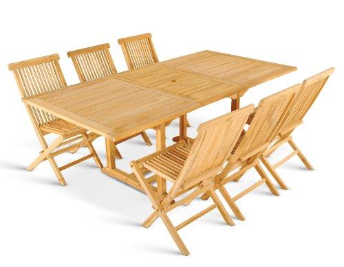 SAM® 7tlg. Gartengruppe Caracas, Teak-Holz Gartenmöbel, 1 x Tisch + 6 x Klappstuhl Menorca, zusammenklappbare Stühle