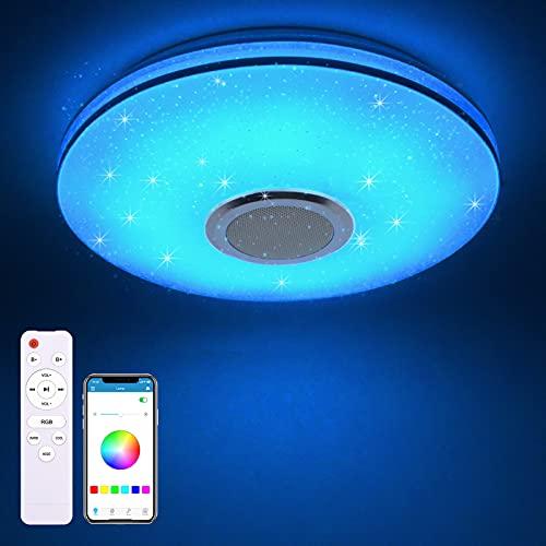 MILFECH 36W LED Deckenleuchte Dimmbar mit Bluetooth Lautsprecher, Fernbedienung und APP-Steuerung, RGB Farbwechsel, Musikwiedergabe,LED Deckenlampe für Schlafzimmer Kinderzimmer Wohnzimmer,3000K-6500K