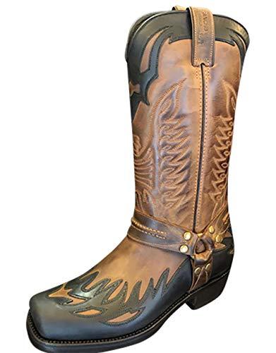Sancho Boots Cowboydtiefel Westernstiefel Bikerstiefel Motorrasstiefel 6732 Braun/Schwarz bereits besohlt (Numeric_43)