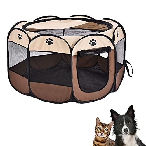 Sararoom Box per Animali Domestici, Recinto per Cani Pieghevole Kennel Impermeabile Tenda per Cane Gatti Cuccioli(114x114x58cm)