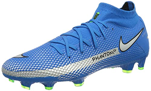 Nike Herren Phantom GT Pro DF FG Football Shoe, Photo Blue/Metallic Silver-Rage Green-Black, 44.5 EU