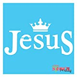 Jesus and King Crown Religious Stencil-S (14' x 7.5')| Brilliant Blue Color Material