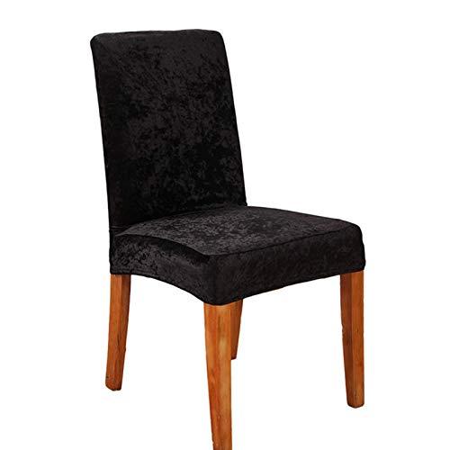 BANGSUN Fundas elásticas para sillas de comedor supersuaves protectoras de terciopelo extraíbles, color negro, 4 unidades