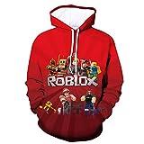 ZGCJK Child Ro-blox Fashion Hoodies for Boys Girls 3D Printed Cool Long Sleeve Sweatshirts 2-M
