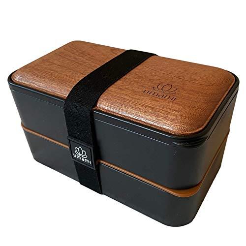 UMAMI®⭐Bento Box für Erwachsene/Kinder, neue Premium Edition, 2 Soßentöpfe & 4 Bestecke, Lunch Box für Männer/Frauen, 2 Meal Prep Containers, Mikrowelle, Spülmaschinen, Gefrierschrank-sicher, BPA frei