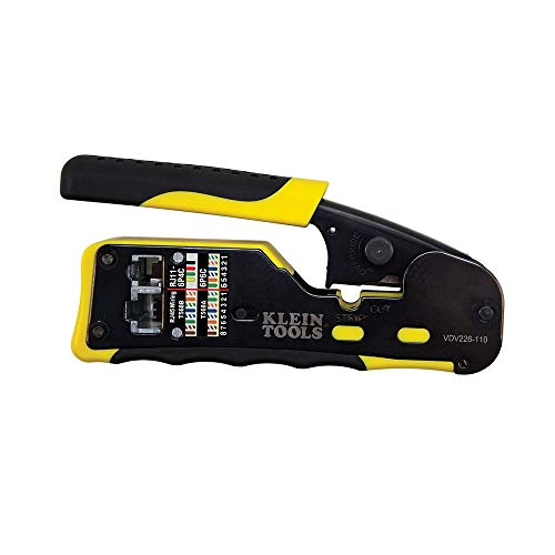 Klein Tools VDV226-110 Wire Crimper / Wire Cutter / Wire Stripper Pass-Thru Modular All-in-One Tool for Video, Telecom, Datacom and more