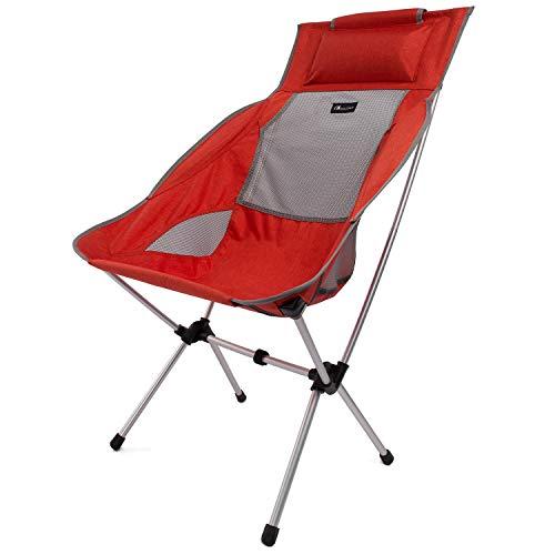 Moon Lence アウトドアチェア キャンプ椅子 背もたれ コンパクト イス 超軽量 折りたたみ 収納バッグ付き 持ち運びしやすい 耐荷重180kg (レッド)