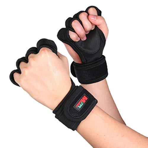 MISLD Unisex Pressurized Armband Handschuhe Sport-Handschuhe Gym Fitness Gewichtheberhandschuh Hantel Langhantel-Training Handgelenk Handgriff Gewicht Hebevorrichtungen - Größe M (Schwarz)