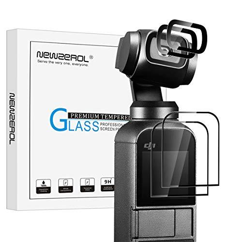 NEWZEROL Kompatibel für DJI Osmo Pocket Panzerglas Schutzfolie,[2 Set] Anti-Kratzer Displayschutzfolien blasenfrei Kamera Zubehör-[Linsenfilm X2 + Bildschirmfilm X2][Lebenslange Ersatzgarantie]