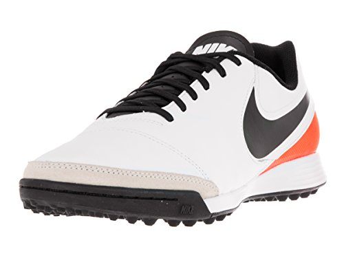 Nike Tiempox Genio II Leather Tf, Scarpe da Calcio Uomo, Multicolore (White/Black/Total Orange), 40 EU