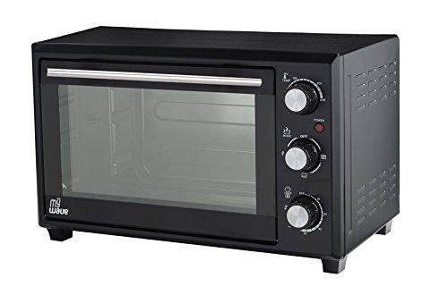 MyWave - Horno Multifunción de Convección y Rustipollo 1600 W, capacidad de 28 L, Mini horno de sobremesa, con temporizador y 6 niveles de calentamiento, 3 accesorios incluidos - Negro