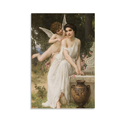 Cute Angel Whispering to Pretty Woman Eros Whispers Renaissance Oil Painting Canvas Art Poster and Wall Art Picture Print Modern Family Bedroom Decor Posters 08x12inch(20x30cm)