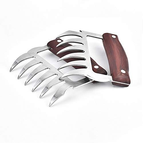 Chanhan Fleischgabeln aus Edelstahl, Rutschfester Griff mit Holzgriff, Metall-Fleischkrallen Rotes Holz