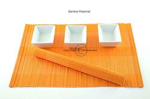 6 sets de table, sets de table fait main en bambou, Lot de 6, Orange-Orange, P49