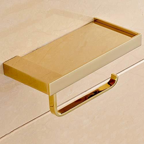 CKH Europese stijl Koper Goud Papier Handdoek Houder Kan Zet Mobiele Telefoon Roll Houder Badkamer Badkamer Hardware Accessoires