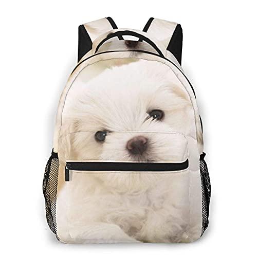 Lawenp Mochila Unisex de Moda Mochila Blanca para Perros pequeños Mochila Ligera para portátil para Viajes Escolares Acampar al Aire Libre