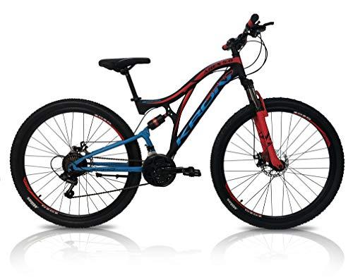 5.0 Bici Bicicletta MTB Ares 26' 27.5' 29' Pollici BIAMMORTIZZATA 21 Velocita' Shimano Mountain Bike REVO Freno A Disco (Rosso/Blu, 26' Pollici)